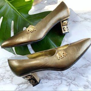 Vintage cervelle bronze elephant heel pumps 8.5